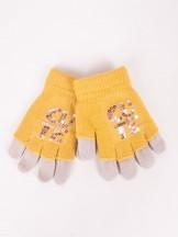 Rękawiczki dziewczęce musztardowe podwójne ozdobne cekiny