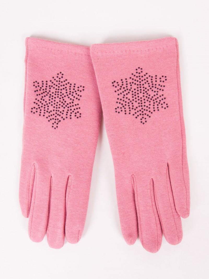 Rękawiczki dziewczęce dzianinowe różowe ozdobne kamyczki