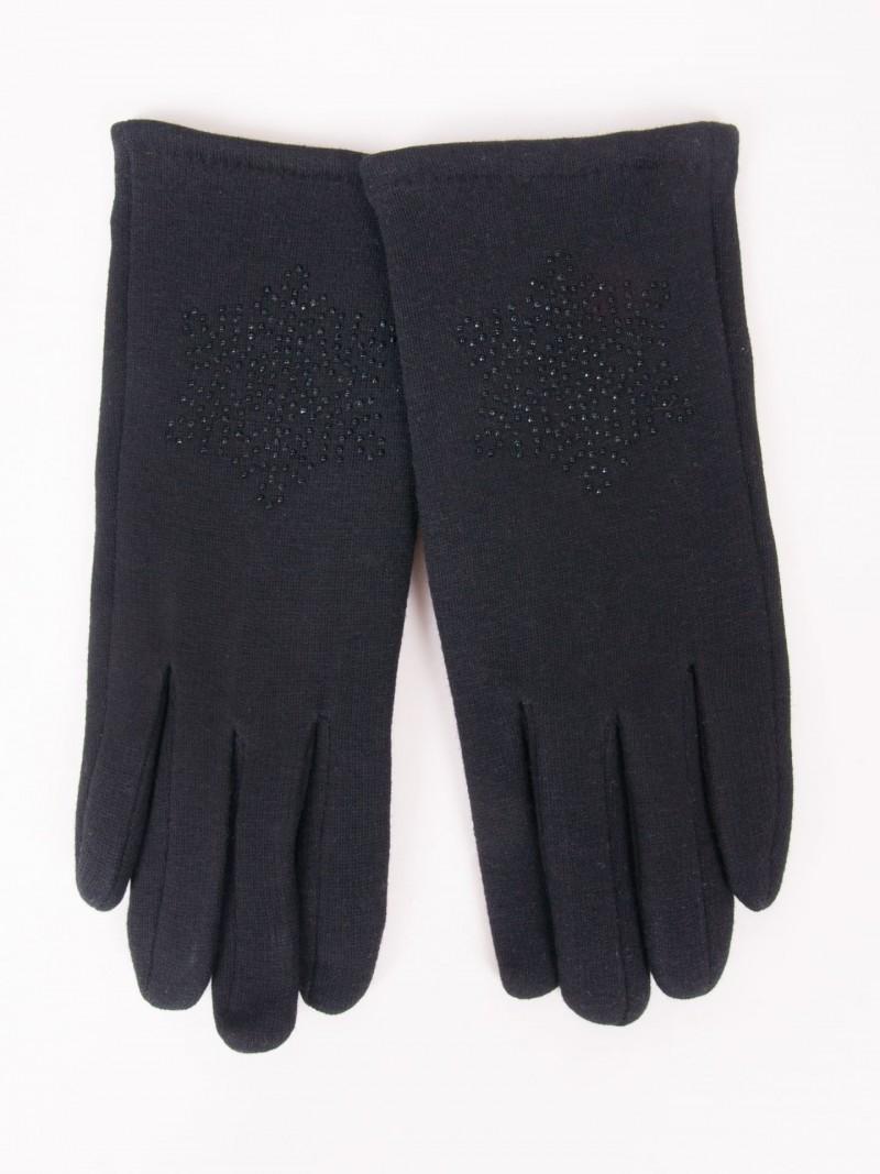 Rękawiczki dziewczęce dzianinowe czarne ozdobne kamyczki