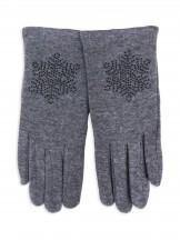 Rękawiczki dziewczęce dzianinowe szare ozdobne kamyczki