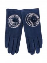 Rękawiczki dziewczęce zamszowe granatowe futrzany pompon