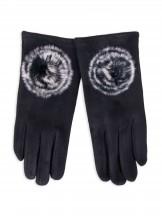 Rękawiczki dziewczęce zamszowe czarne futrzany pompon