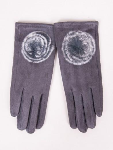 Rękawiczki dziewczęce zamszowe grafitowe futrzany pompon