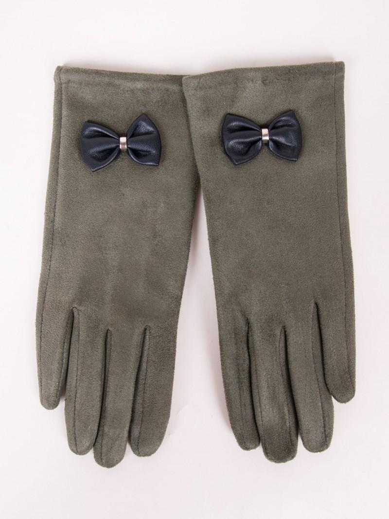 Rękawiczki dziewczęce zamszowe oliwkowe skórzana kokardka