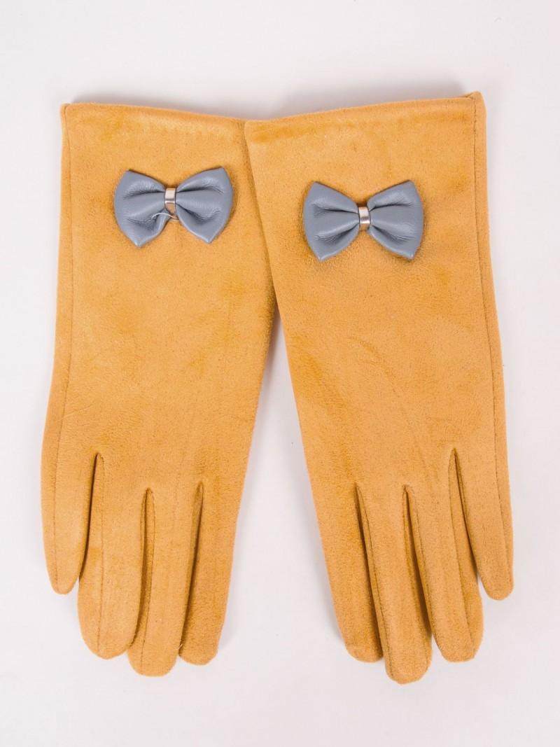 Rękawiczki dziewczęce zamszowe musztardowe skórzana kokardka