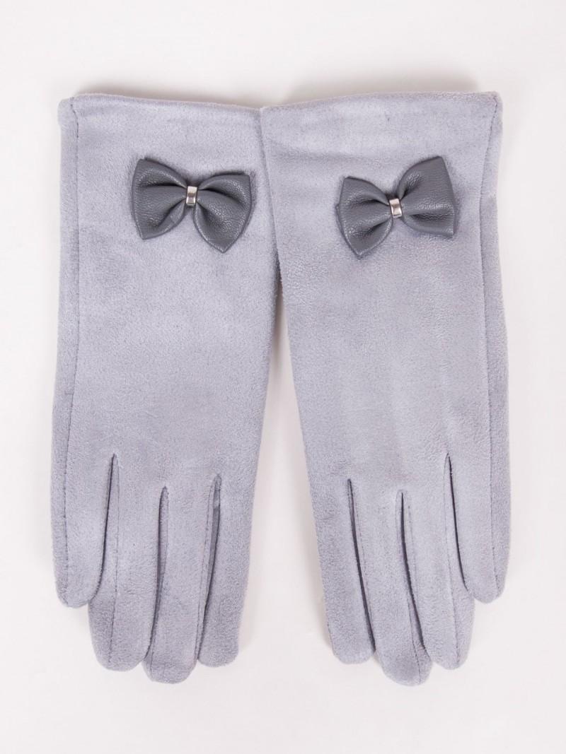 Rękawiczki dziewczęce zamszowe jasnoszare skórzana kokardka