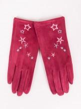 Rękawiczki dziewczęce zamszowe czerwone haft w gwiazdki