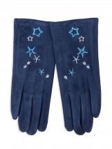 Rękawiczki dziewczęce zamszowe granatowe haft w gwiazdki