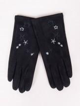 Rękawiczki dziewczęce zamszowe czarne haft w gwiazdki