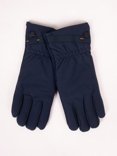 Rękawiczki męskie materiałowo-zamszowe granatowe dotyk