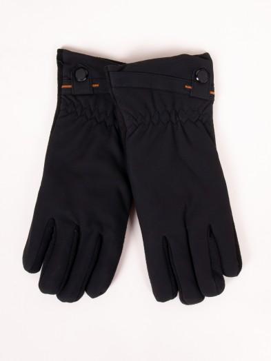 Rękawiczki męskie materiałowo-zamszowe czarne dotyk