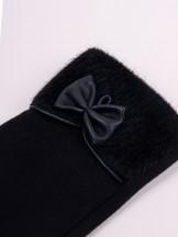 Rękawiczki kobiece czarne futrzany mankiet i skórzana kokardka