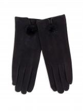 Rękawiczki kobiece czarne drobny futrzany pompon