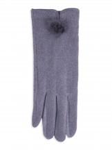 Rękawiczki kobiece szare drobny futrzany pompon