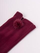 Rękawiczki kobiece bordowe drobny futrzany pompon
