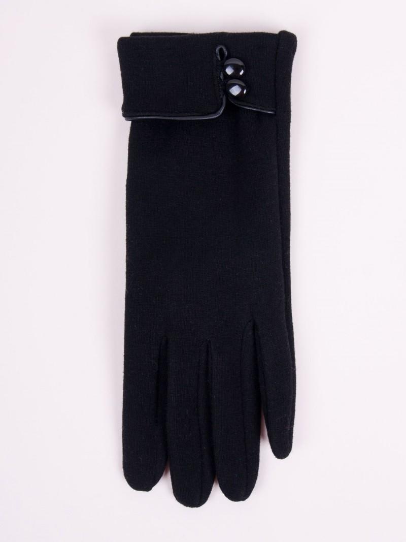 Rękawiczki kobiece czarne ozdobny mankiet z guzikami