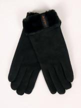 Rękawiczki kobiece czarne zamszowe z futerkiem na mankiecie