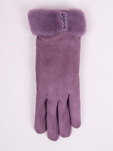 Rękawiczki kobiece wrzosowe zamszowe z futerkiem na mankiecie