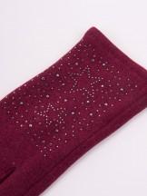Rękawiczki kobiece bordowe gwiazdki z jetów
