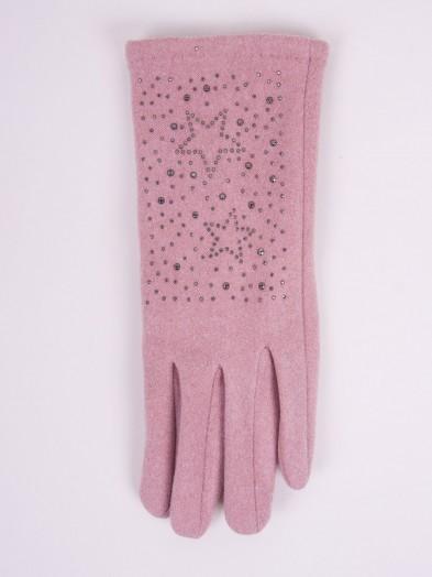 Rękawiczki kobiece różowe gwiazdki z jetów