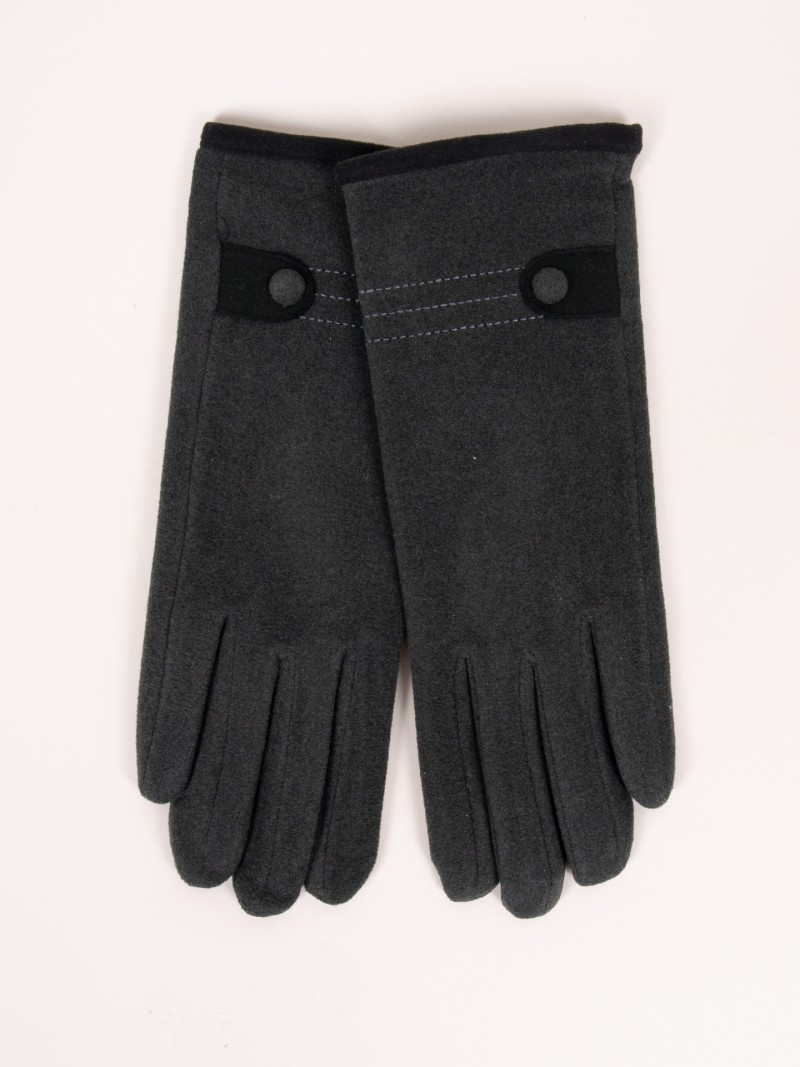 Rękawiczki kobiece szare z guzikiem