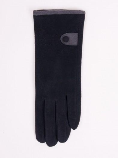 Rękawiczki kobiece czarne z guzikiem