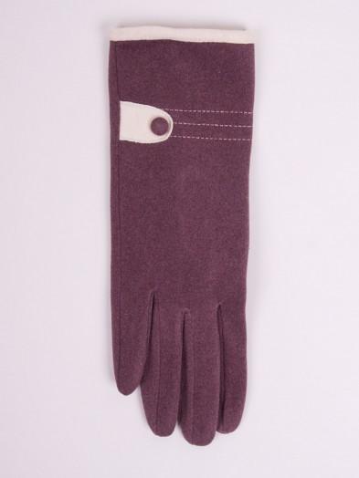Rękawiczki kobiece burgundowe z guzikiem