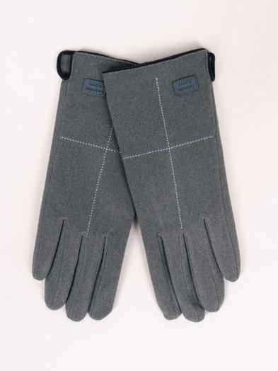 Rękawiczki kobiece szare z przeszyciem i naszywką