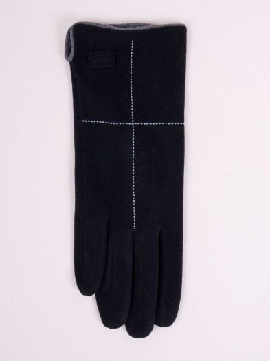 Rękawiczki kobiece czarne z przeszyciem i naszywką