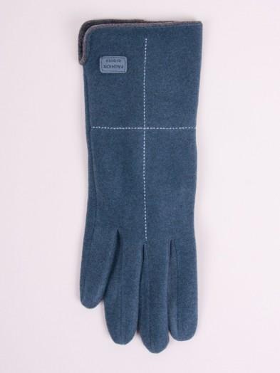 Rękawiczki kobiece niebieskie z przeszyciem i naszywką
