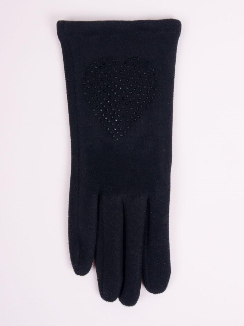 Rękawiczki kobiece czarne serce z jetów