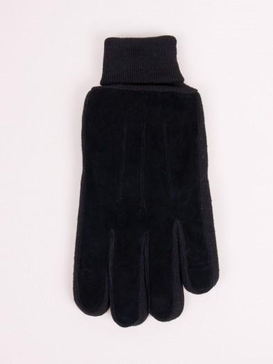Rękawiczki męskie naturalna skóra czarne ocieplane