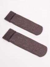 Skarpety kobiece brązowe z moherowym wywinieciem