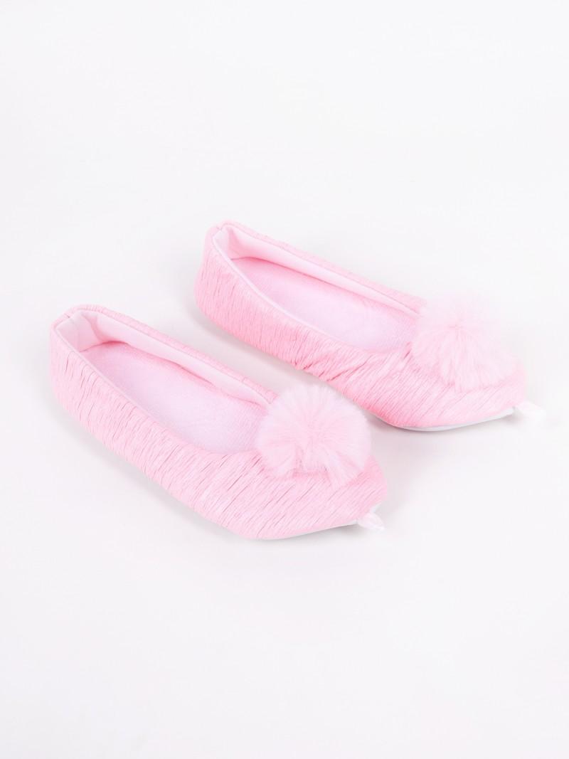 Baleriny damskie różowe marszczone z pomponem