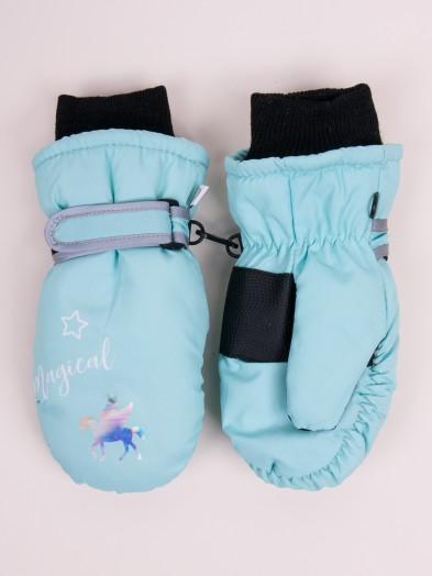 Rękawiczki narciarskie dziewczęce jednopalcowe seledynowe Magical