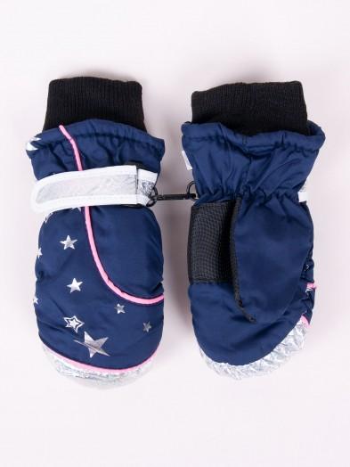 Rękawiczki narciarskie dziewczęce jednopalcowe granatowe z gwiazdkami