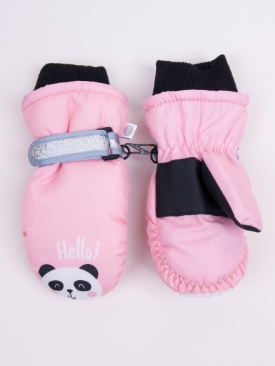 Rękawiczki narciarskie dziewczęce jednopalcowe różowe panda