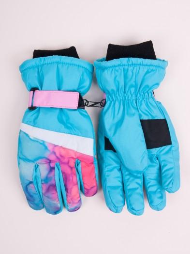 Rękawiczki narciarskie damskie niebieskie tie dye