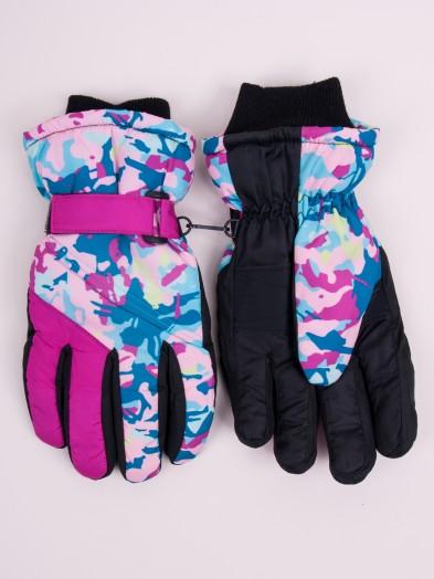 Rękawiczki narciarskie damskie różowo-seledynowe moro
