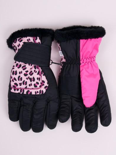 Rękawiczki narciarskie damskie czarne z panterką