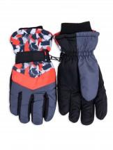 Rękawiczki narciarskie damskie czarne z pomarańczowymi akcentami