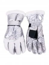 Rękawiczki narciarskie damskie srebrno-białe z futerkiem