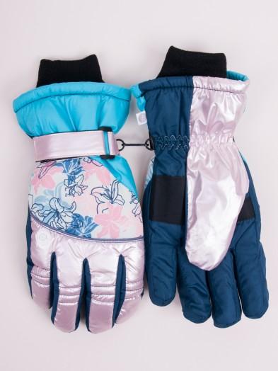 Rękawiczki narciarskie damskie niebieskie z kwiatkami