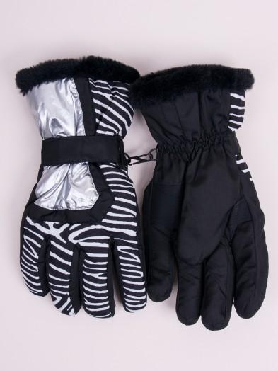 Rękawiczki narciarskie damskie czarne w zebrę