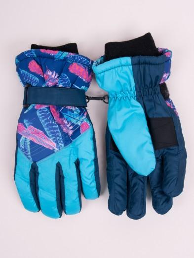 Rękawiczki narciarskie damskie niebieskie piórka