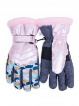 Rękawiczki narciarskie damskie różowe w plamki