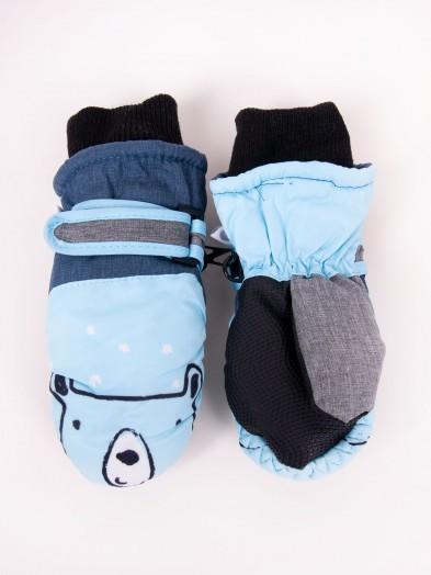 Rękawiczki narciarskie chłopięce jednopalcowe błękitne misio