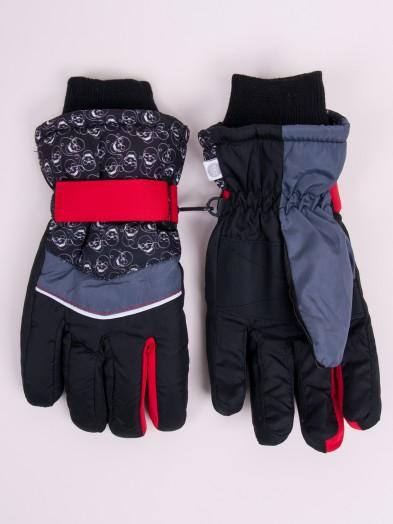 Rękawiczki narciarskie chłopięce czarne w czaszki