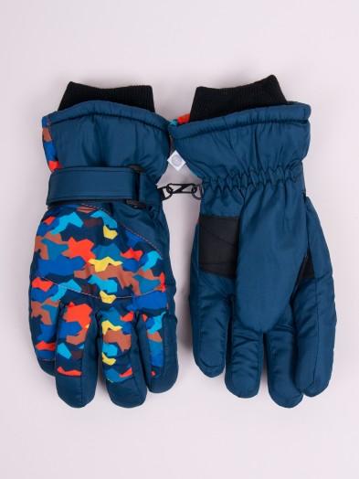 Rękawiczki narciarskie chłopięce granatowe wielokolorowe wielokąty