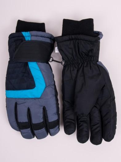 Rękawiczki narciarskie męskie grafitowe deseń